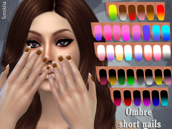 The Sims Resource: Short ombre nails by Sintiklia