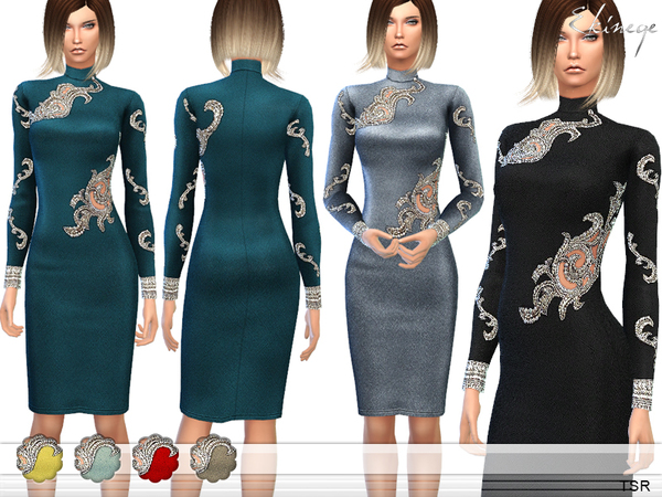 The Sims Resource: Embellished Dress by Ekinege