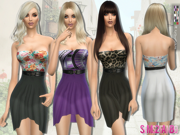 The Sims Resource: 114   Waterfall dress with belt by sims2fanbg