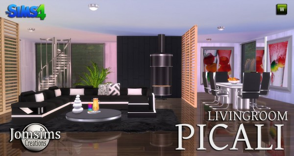 Jom sims creations picali salon sims 4 downloads for Salon moderne sims 4