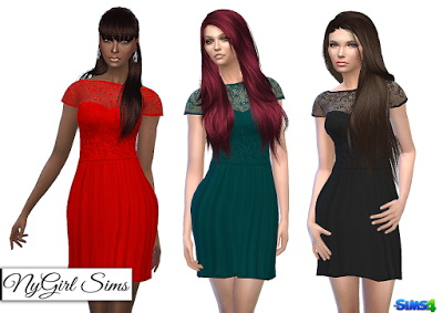 NY Girl Sims: Embroidered Lace Top Dress