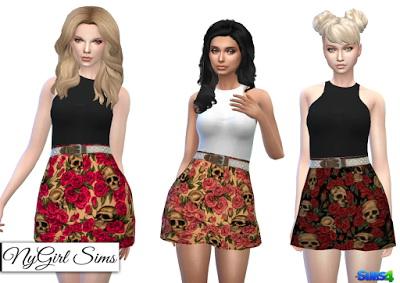 NY Girl Sims: Skull and Roses Racerback Dress