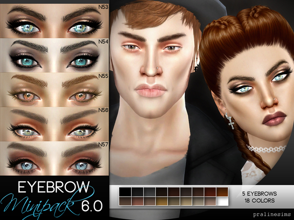 The Sims Resource: Eyebrow Minipack 6.0   5 Eyebrows by Pralinesims