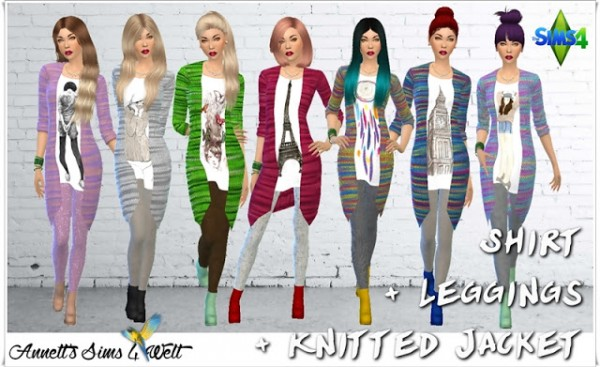 Annett`s Sims 4 Welt: Knitted Jacket & Leggings & Shirt