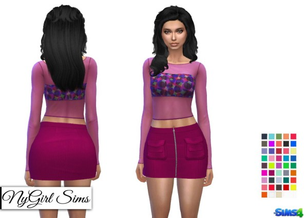 NY Girl Sims: Corduroy Zip Up Skirt with Pockets