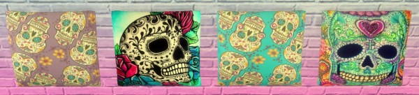 Sunshine & Roses Custom Content: Sugar Skull Pillow Set