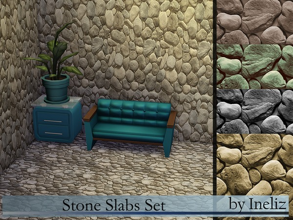 The Sims Resource: Stone Slabs Set by Ineliz