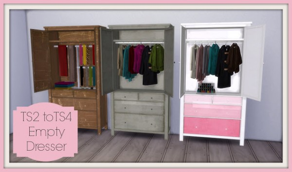 Dinha Gamer: Cassandre Empty Dresser converted from TS2 to TS4