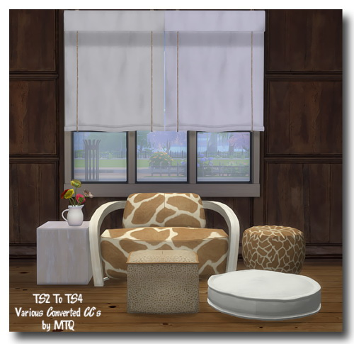 Msteaqueen: Curtain and Loft Bedroom armchair recolors converted from TS2 to TS4