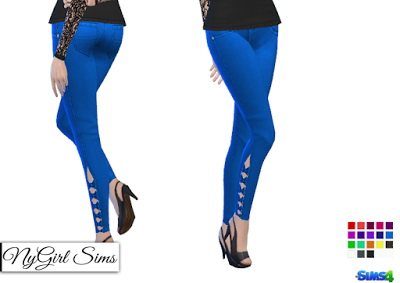 NY Girl Sims: Denim Skinny Jean with Half Leg Bow in Solid Colors