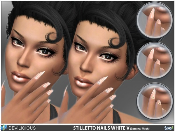 The Sims Resource: Stiletto Nails White V by Devilicious