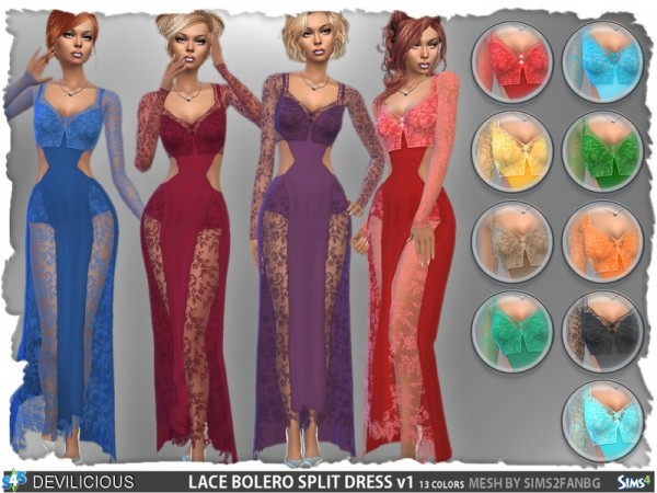 The Sims Resource Lace Bolero Split Dress Set By