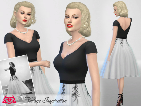 The Sims Resource: Set hair and dress Grace Kelly by Colores Urbanos