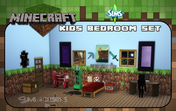 Kids Bedroom Minecraft sims 4 designs: minecraft kids bedroom set • sims 4 downloads