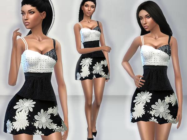 The Sims Resource: English Embroidery Dress by Puresim