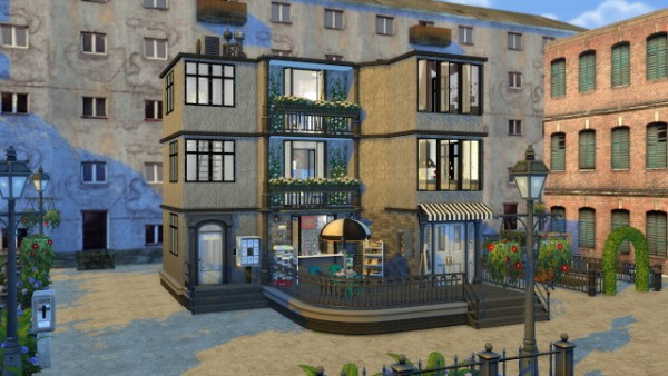 Dinha gamer apartment with coffee shop sims 4 downloads for Shop with apartment