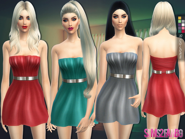 The Sims Resource: 129   Cocktail dress with belt by sims2fanbg