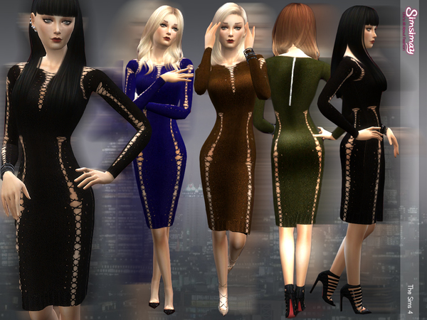 The Sims Resource: Lace up Knit Dress by simsimay