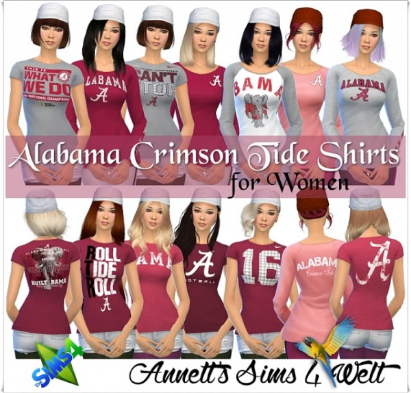 Annett`s Sims 4 Welt: Alabama Crimson Tide Shirts for Women