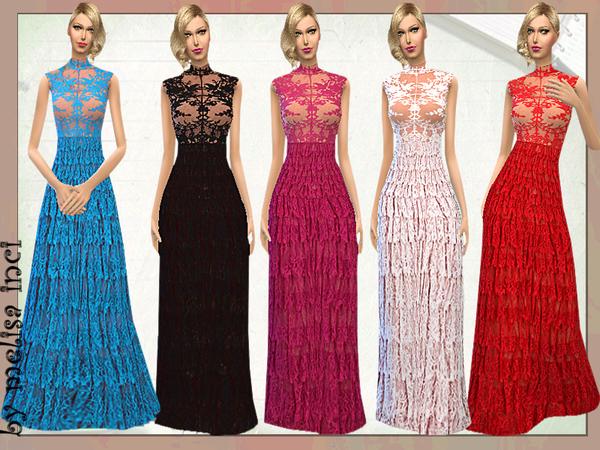 The Sims Resource: Lace Ruffle Maxi Dress by Melisa Inci
