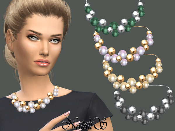 The Sims Resource: Giant pearls and beads necklace by NataliS