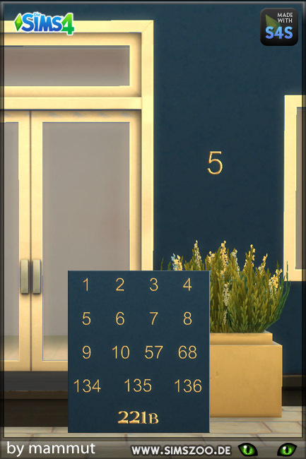 Blackys Sims 4 Zoo: House numbers by mammut