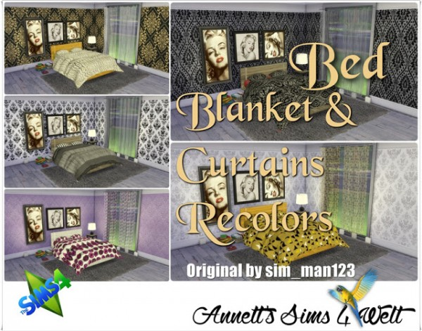 Annett`s Sims 4 Welt: Bed, Blanket & Curtains Recolor