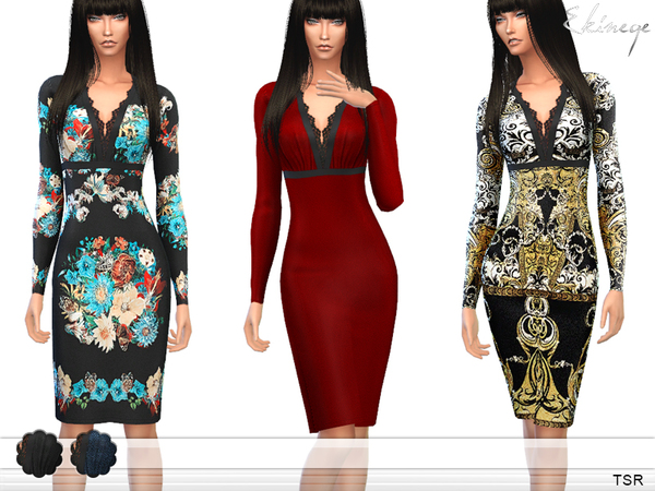 The Sims Resource: Lace Detail Dress by Ekinege