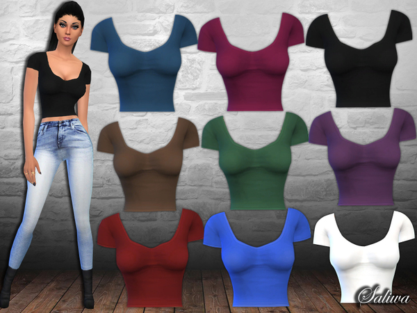 The Sims Resource: Casual Fit Crop Tops by Saliwa