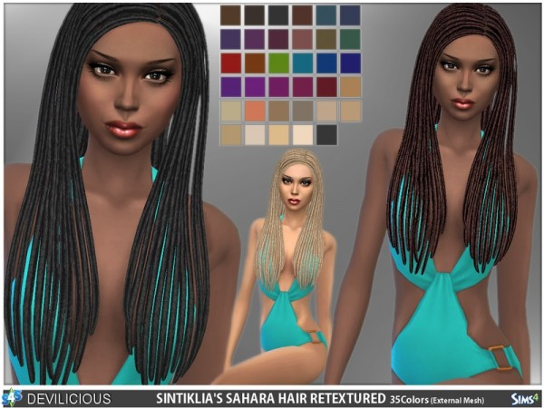 The Sims Resource: Sintiklias Sahara Hair & Beads by Devilicious