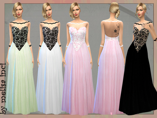 The Sims Resource: Lace Bodice Tulle Gown  by Melisa Inci