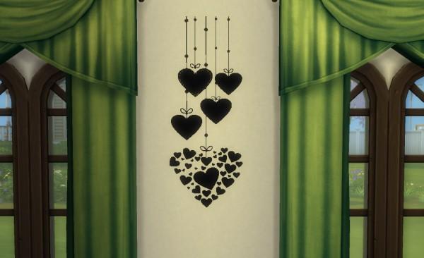 Sims4ccbyhina: Romantic Wall Stencil Set 1