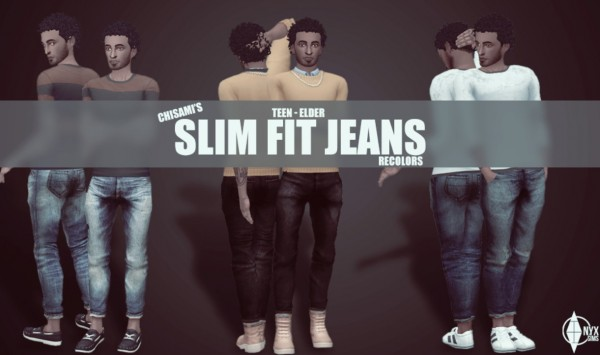 Onyx Sims: 6 Recolors of Chisami Slim Fit Jeans