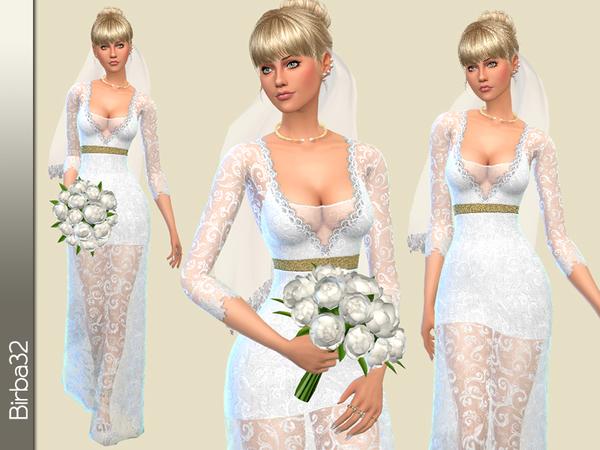 The Sims Resource: Sofia wedding dress V2 by Birba32