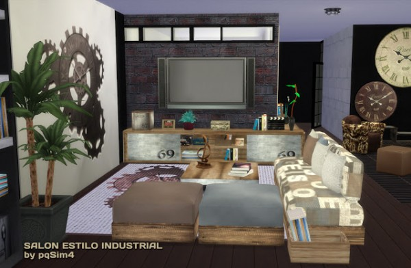 pqsims4 industrial livingroom sims 4 downloads. Black Bedroom Furniture Sets. Home Design Ideas
