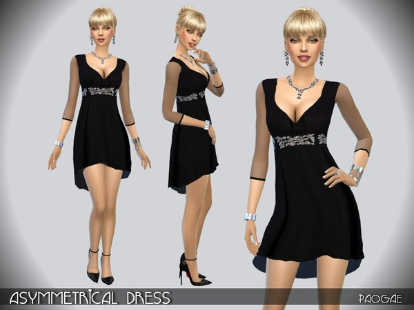 The Sims Resource: Asymmetrical Dress by Paogae
