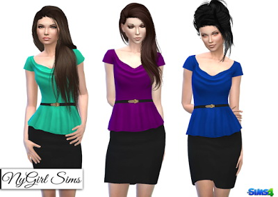 NY Girl Sims: Belted Cowl Top Peplum Dress