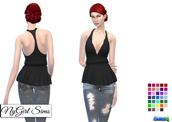 NY Girl Sims: Deep V Racerback Peplum Shirt