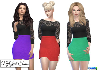 NY Girl Sims: Lace Top and Bandage Skirt Dress