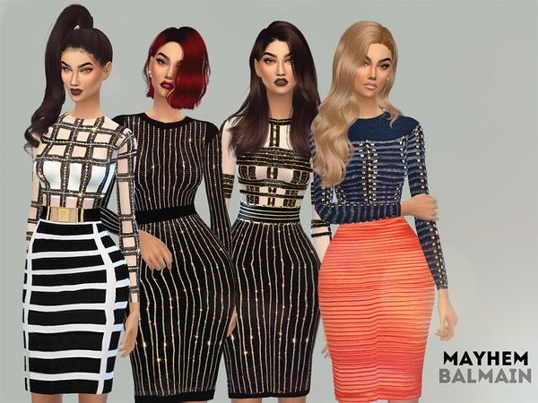 The Sims Resource: Balmain Dress Set by NataliMayhem