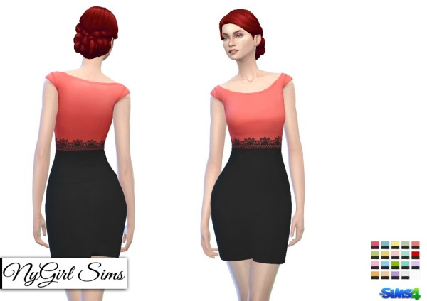 NY Girl Sims: Cap Sleeve Pencil Dress with Black Skirt
