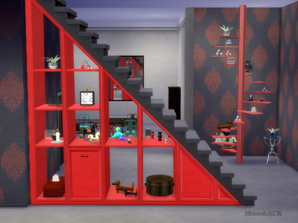The Sims Resource: Under Stair Shelfs and Deco Spiralstair by ShinoKCR