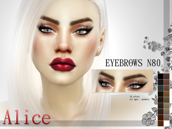 The Sims Resource: Fashionista Eyebrow Pack N11 by Pralinesims