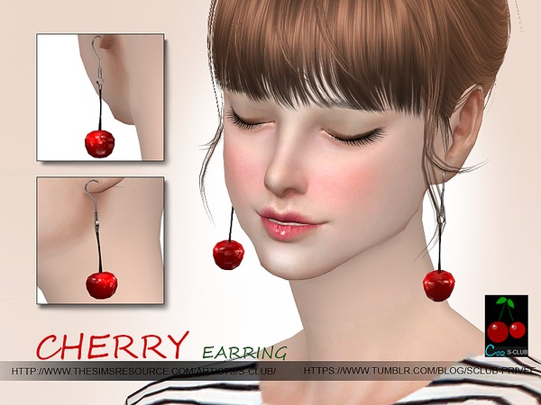 The Sims Resource: Cherry earring N02 by S Club
