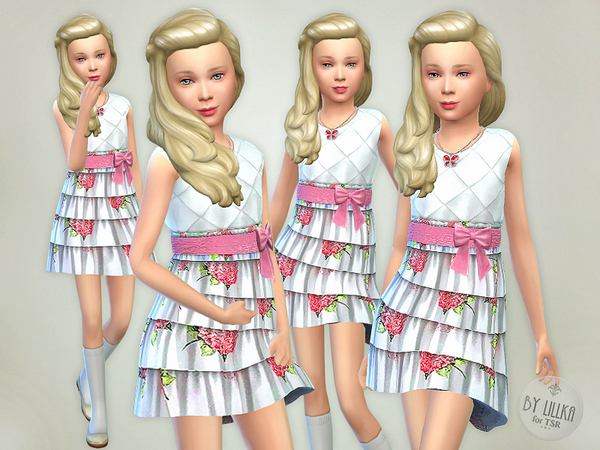 The Sims Resource: Garden Floral Dress by lillka