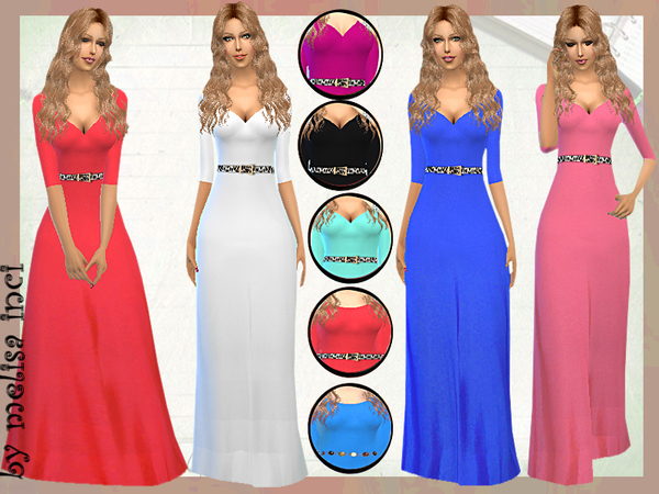The Sims Resource: Three Quarter Sleeve Off the Shoulder Dress by Melisa Inci