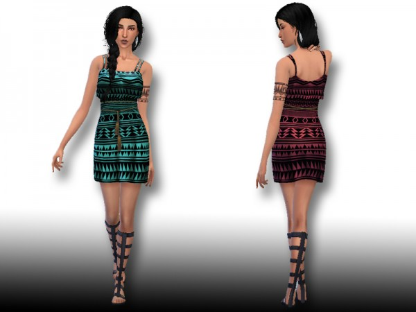 The Sims Resource: Aztec Pattern Casual Dress by Hutzu