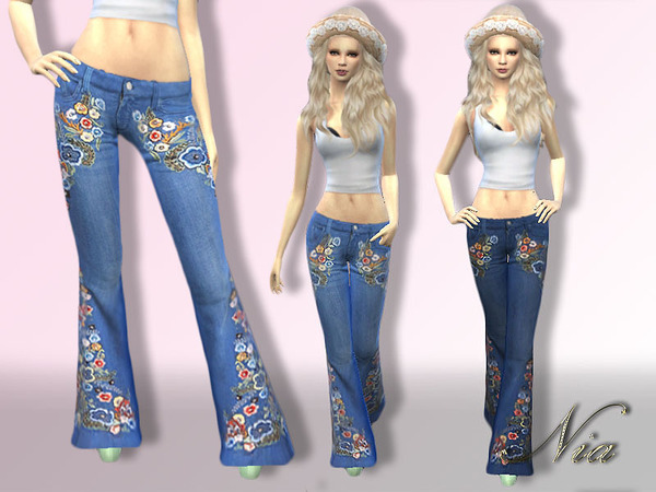 The Sims Resource: Embroided Flare Jeans by Nia