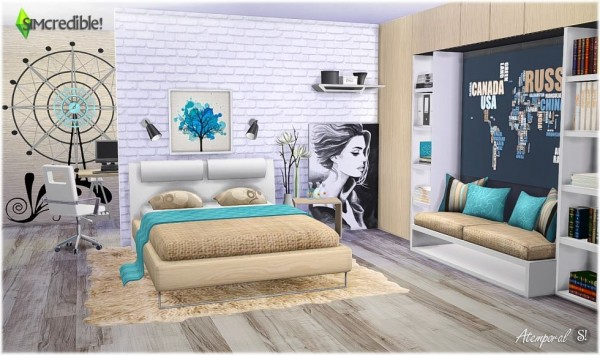 Simcredible designs atemporal bedroom sims 4 downloads for Bedroom designs sims 4