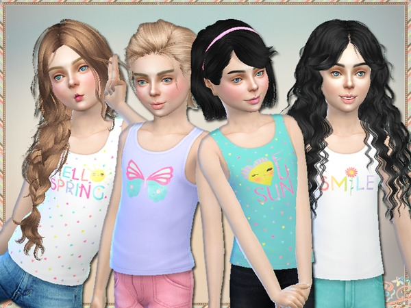 The Sims Resource: Hello Spring Tank Tops For Girls by Simlark